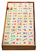 Above View Of Wood Mahjong Game Tiles In Box