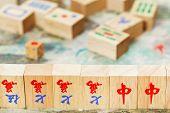 Wood Tiles Closeup In Mahjong Game