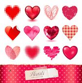 vector hearts collection - 12 detailed items in various techniques