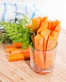 foto of crudites  - Fresh made Carrot Sticks in a glass (diet food) ** Note: Shallow depth of field - JPG