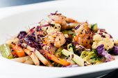stock photo of tiger prawn  - Salad with grilled tiger prawns - JPG