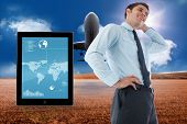 Thinking businessman with hand on head against 3d plane taking off over cornfield