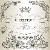 Elegant Invitation Card  In Vintage Style