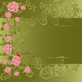 Green and roses Valentine