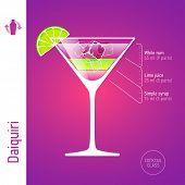 Daiquiri. Cocktails infographics, vector.