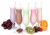 stock photo of fruit shake  - Milk shakes with fruits isolated on white - JPG