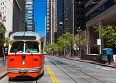 San Francisco Market Street F Market & Wharves F line is a vintage heritage streetcar cable car of C