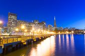 picture of nightfall  - San Francisco Pier 7 sunset in California USA - JPG