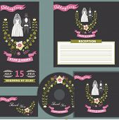 Cute wedding design  template set with floral wreath