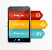 Vector smartphone with infographic option banner