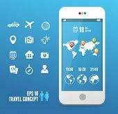 Vector smartphone with mobile map. Travel set