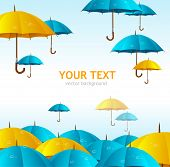 Vector colorful yellow and blue umbrellas flying