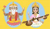 stock photo of brahma  - vector illustration lord Brahma and Sarasvati devi - JPG