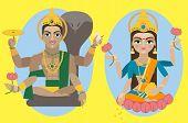 vector lord Vishnu and mata Lakshmi