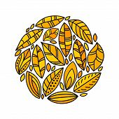 Autumn yellow doodle leaves circle composition on white, vector