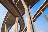 Concrete Highway Overpass Bhumibol Bridge In Thailand