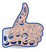 Food Likes - Social Networks Thumb Up Hand Sign Button