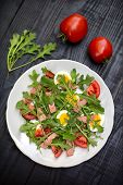 Salad With Rucola, Tomato, Eggs And Ham