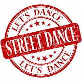 Street Dance Red Vintage Grungy Isolated Round Stamp