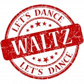 picture of waltzing  - Waltz red vintage grungy isolated round stamp - JPG