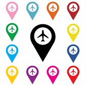 picture of aeroplane symbol  - Set of Airport Marker Icons - JPG