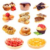 Sweet food collage isolated on white