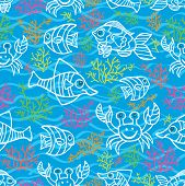 Funny Fish and Colored corals.Doodle seamless pattern