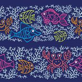 Funny  Fish and corals.Colored Doodle seamless border pattern