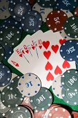 Cards and chips for poker close-up
