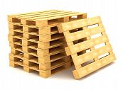 image of wooden pallet  - Shipping pallets isolated on white background 3D - JPG