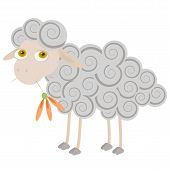 Cartoon Sheep Chewing Orange Flower. Objects Grouped And Named In English. No Mesh, Transparency Use