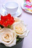 Coffee Set With Flower Arrangement