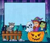 Mysterious forest Halloween frame 5 - eps10 vector illustration.