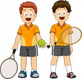 Illustration Featuring a Pair of Boys Preparing to Play Lawn Tennis Doubles