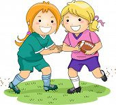 Illustration Featuring a Pair of Girls Playing Football