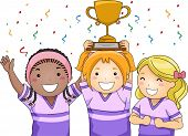 Illustration Featuring a Group of Smiling Girls Showing Off Their Trophy