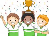 Illustration Featuring a Group of Smiling Boys Showing Off Their Trophy