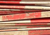 Barrier Planks With Red And White Stripes