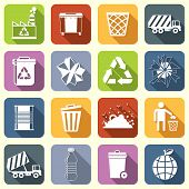 image of dumpster  - Garbage rubbish green recycling symbols flat interface icons set isolated vector illustration - JPG