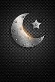 Metal Ramadan Kareem Card With Moon And Star