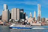 New York - November 25: A Ferry From Ny Waterway Tour Filled With Tourists On Hudson River On Novemb
