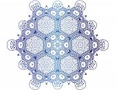 Colorful Zentangle pattern on white background - snowflake