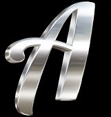 Letter A from chrome solid alphabet isolated on black