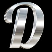 Letter D from chrome solid alphabet isolated on black