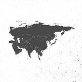 Eurasia map background vector,  illustration for communication