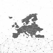Europe map background vector, illustration for communication