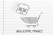 Real Estate Market,  House Into Shopping Cart
