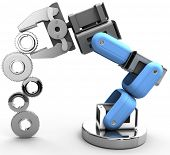 Robotic arm building growth in technology business as gear stack