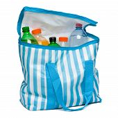 Open Blue Striped Cooler Bag With Full Of Cool Refreshing Drinks