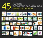Set of various geometricabstract backgrounds - 45 abstract design templates ready to use - huge  meg